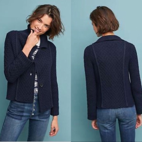 Anthropologie Sweaters - Anthro Maeve Knit Cardigan Navy Blue Size XS